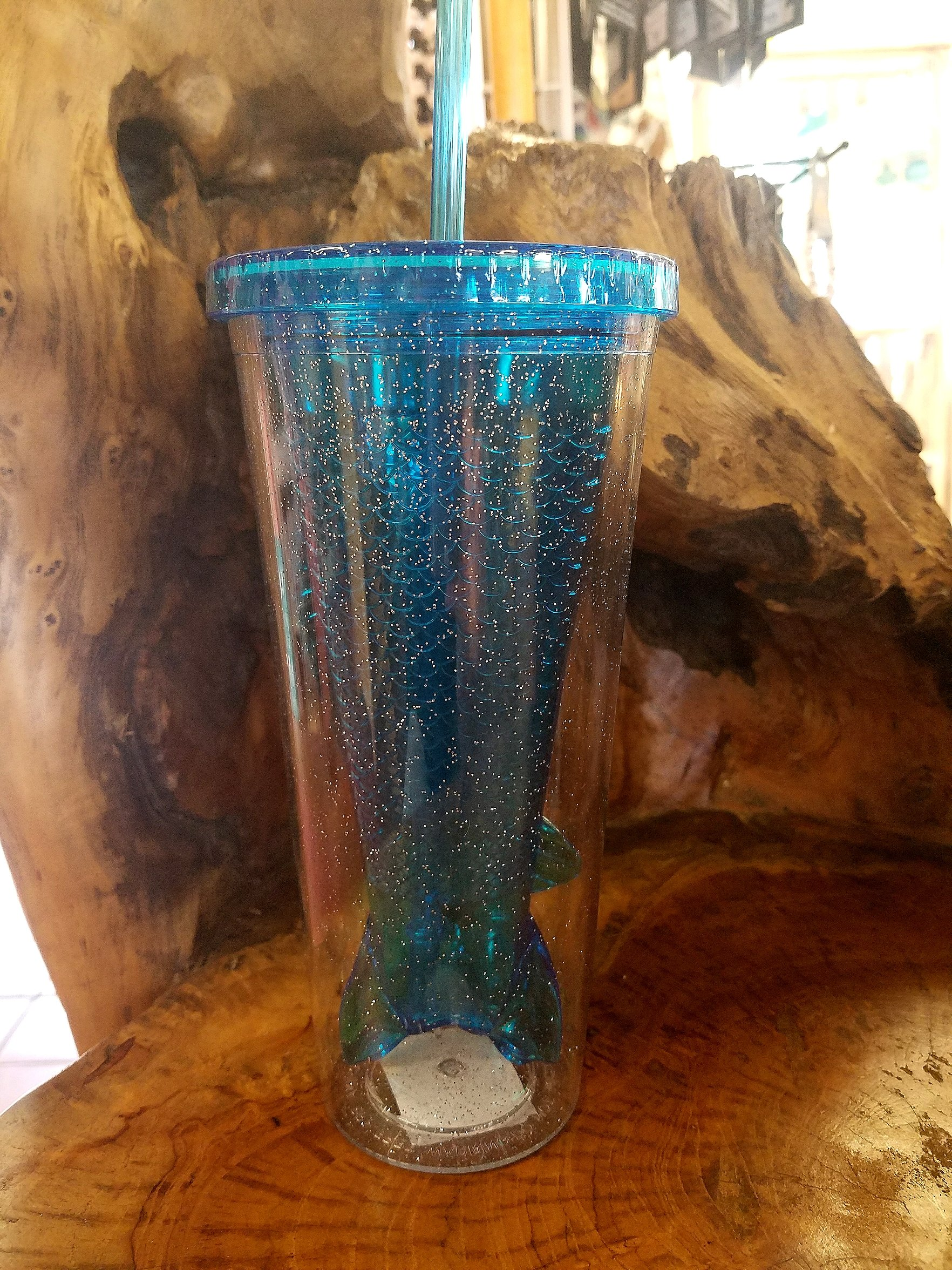 Glitter Mermaid Tail Insulated Tumbler Teal Blue